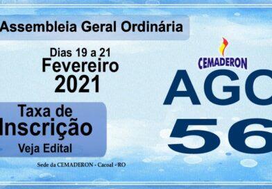 INSCRIÇÕES E EDITAL- 56ª AGO