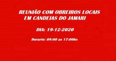 Encontro de obreiros locais em Candeias do Jamari